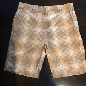 Tan plaid Ron Jon walkshort and board shorts 34